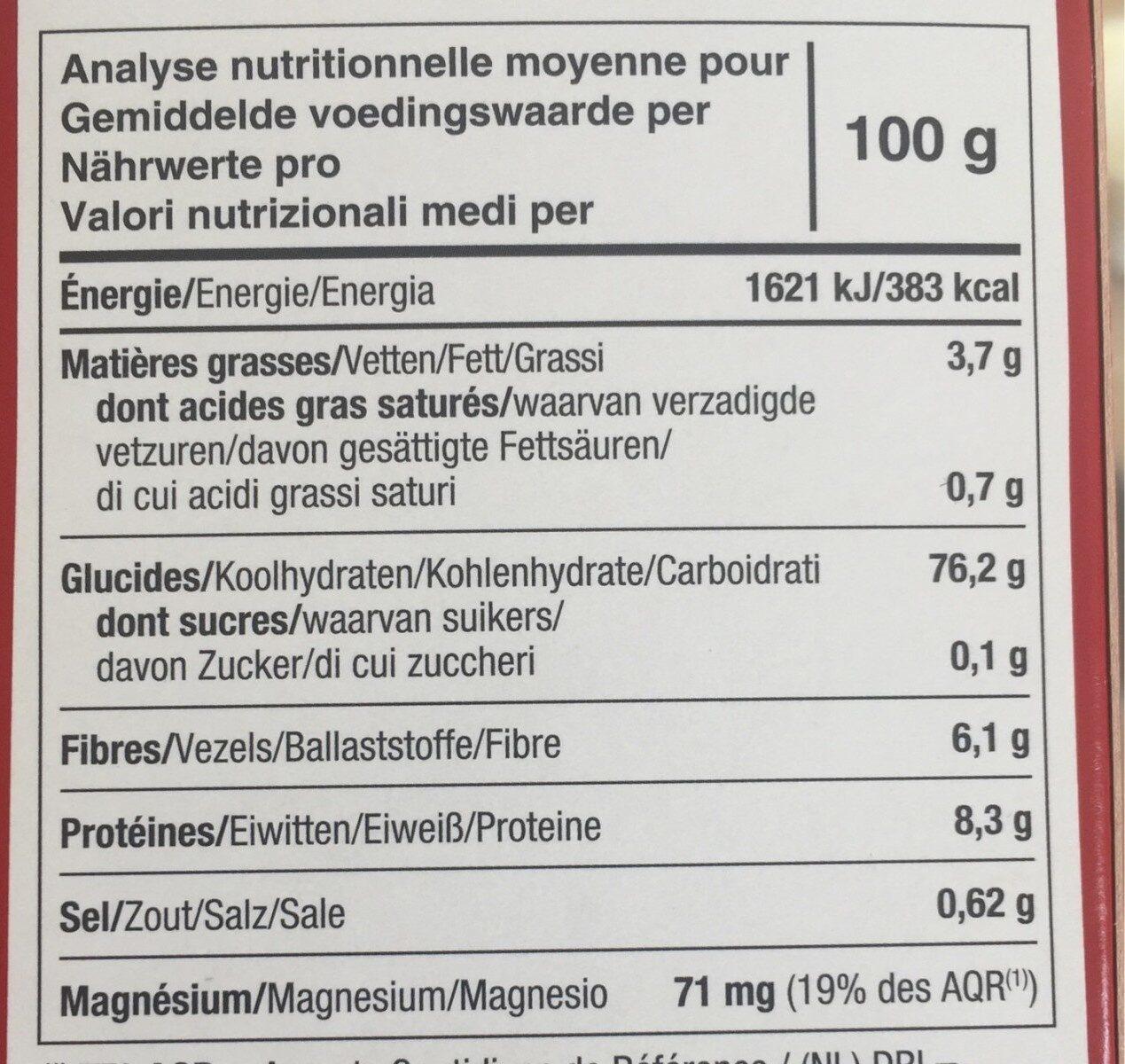 Tartines bio à l'avoine - Nutrition facts - fr