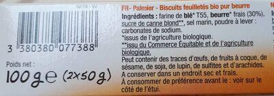Palmier BIO Pur Beurre - Ingrediënten - fr