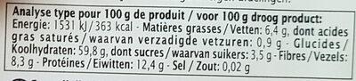 Boulgour Potiron et Citronnelle - Voedingswaarden - fr