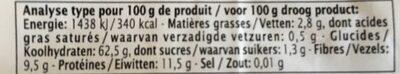 Epicerie / Céréales, Graines, Pâtes, Riz / Semoule, Boulgour, Couscous - Información nutricional