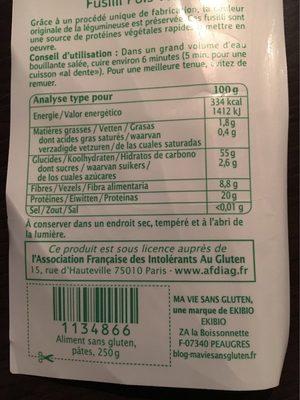 Fusilli Au Pois Vert Bio - 250 G - Ma Vie Sans Gluten - Nutrition facts