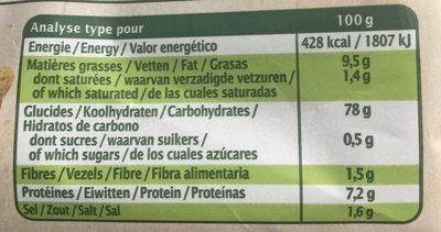 Crackers de riz au romarin - Informations nutritionnelles