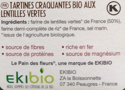 Tartines Bio craquantes aux lentilles vertes - Ingrédients - fr