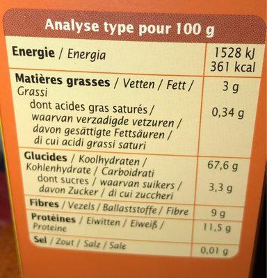 Quinoa Express Natuur - Informations nutritionnelles - fr