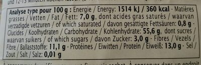Primeal Quinoa Franse - Informations nutritionnelles - fr