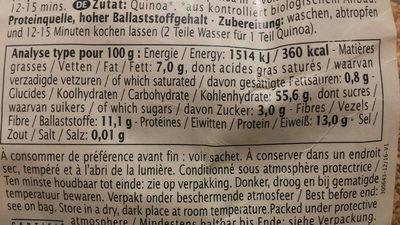 Quinoa France - Informations nutritionnelles