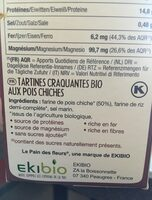 Tartines Bio craquantes aux pois chiches sans gluten - Ingrédients - fr
