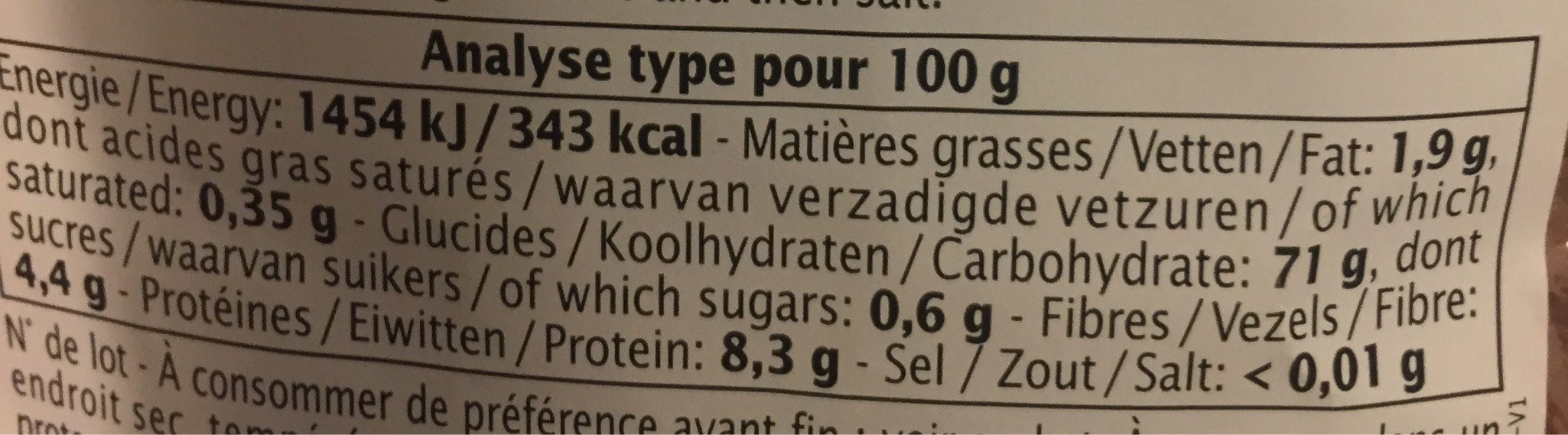 Rijst Roze Langgraan Camargue - Informations nutritionnelles - fr