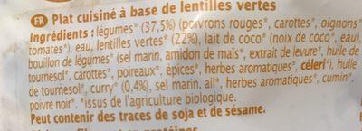 Lentilles Cuisinees Petits Legumes Curry 250G - Ingrediënten