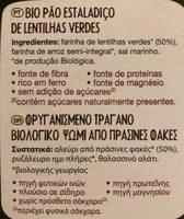 Tartine bio lentilles vertes - Ingrédients