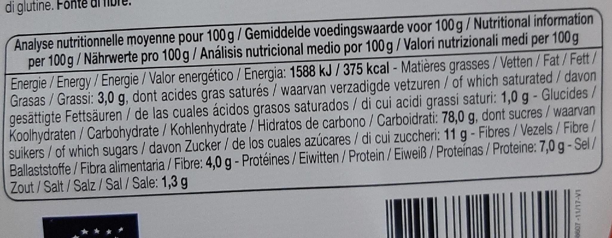 Flakes quinoa - Ernæringsfakta - fr