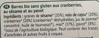 Super barre cranberry sesame pavot - Ingrédients