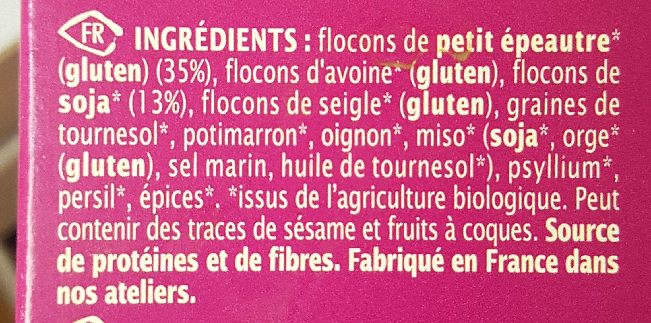 Mix' galettes veggie burger petit épeautre & soja - Ingredients - fr