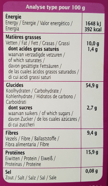 Mix' galettes veggie burger petit épeautre & soja - Nutrition facts - fr