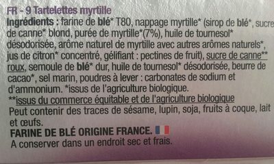 Bisson Tartelettes myrtille - Ingrediënten
