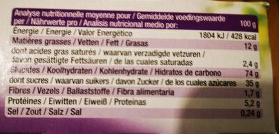 Bisson Tartelettes myrtille - Voedingswaarden