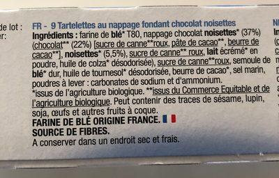 Tartelettes chocolat noisettes - Ingredients