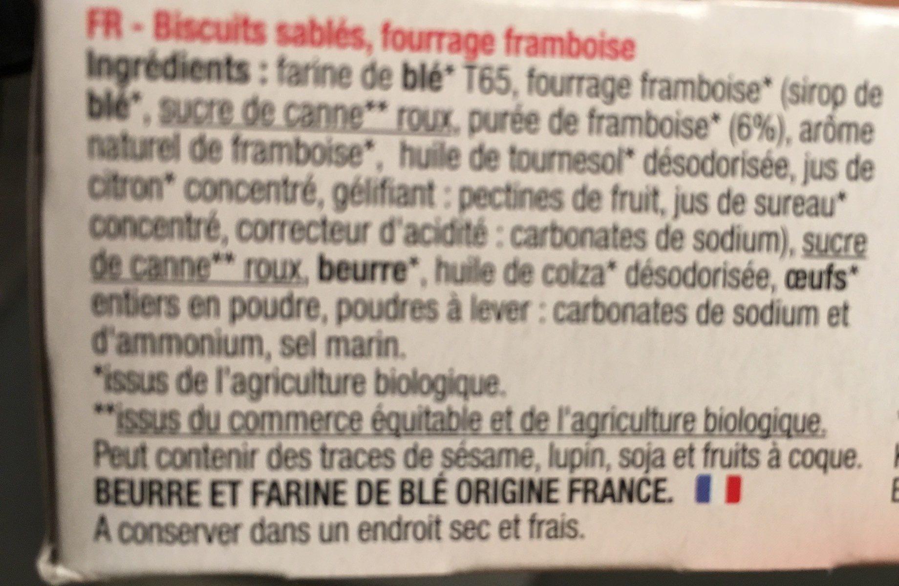 Mini Lunettes Framboise - Ingrediënten - fr