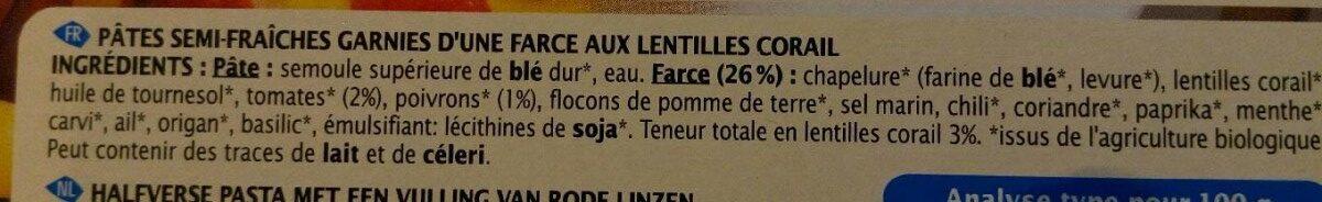Cappelletti lentilles corail - Ingrédients - fr