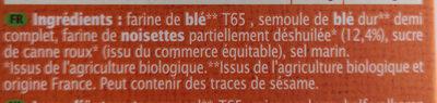 TARTINES NOISETTES - Ingrediënten - fr