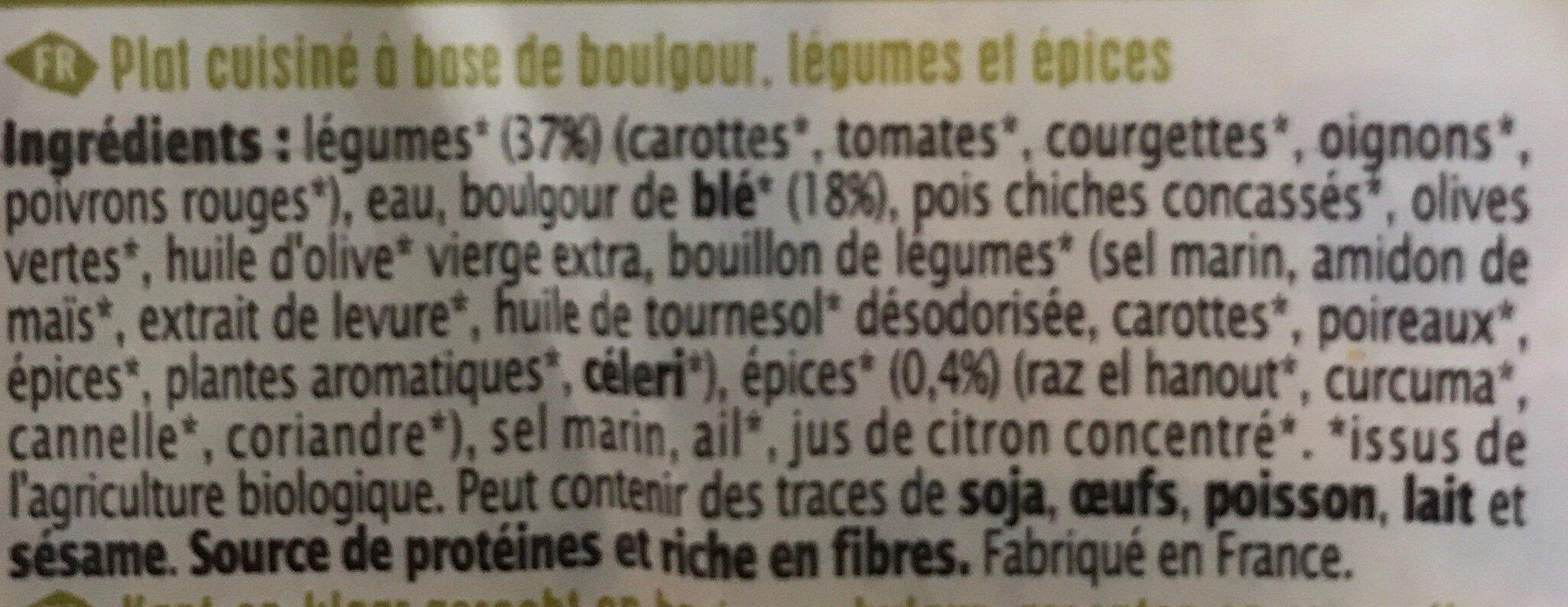 Boulgour aux légumes saveur d'Orient - Ingrédients