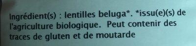 Lentilles beluga bio Priméal - Ingrédients - fr