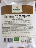 Farine de riz complète - Informations nutritionnelles - fr