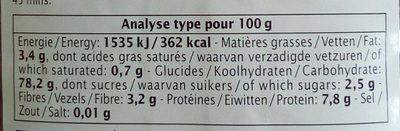 Riz de Camargue rouge long complet - Nutrition facts - fr