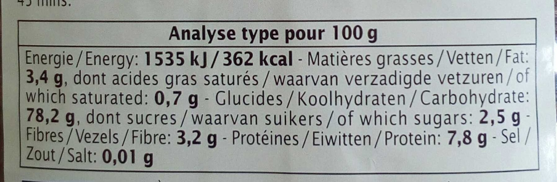 Riz de Camargue rouge long complet - Informations nutritionnelles