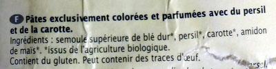 Les Pâtinettes, Alphabet Tricolore - Ingredientes