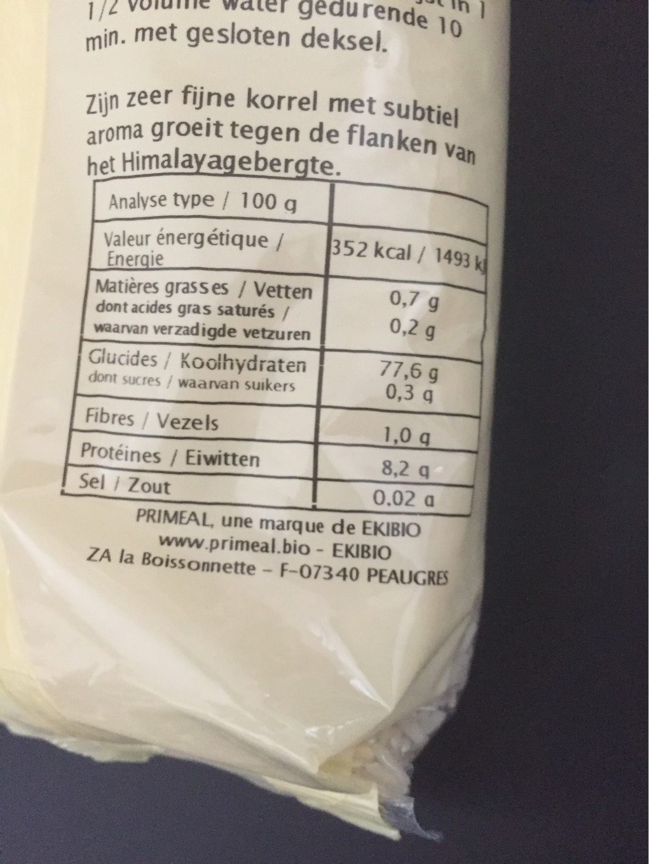 Riz basmati blanc - Nutrition facts