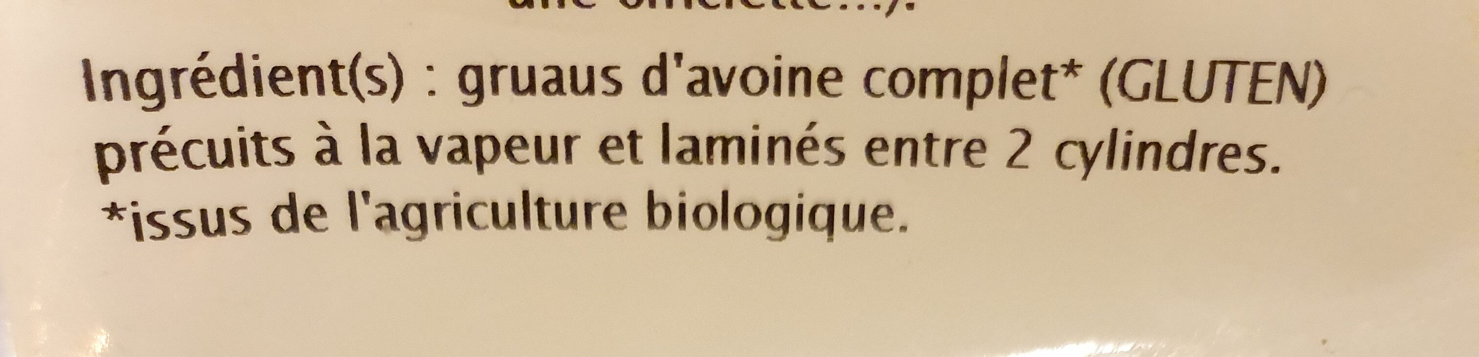 Flocons d'avoine gros, bio - Ingredients - fr