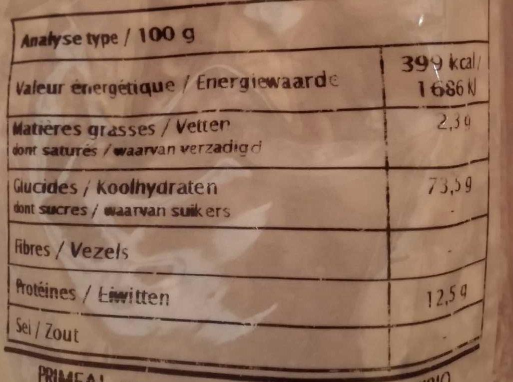 Flocons d'Orge - Informations nutritionnelles - fr