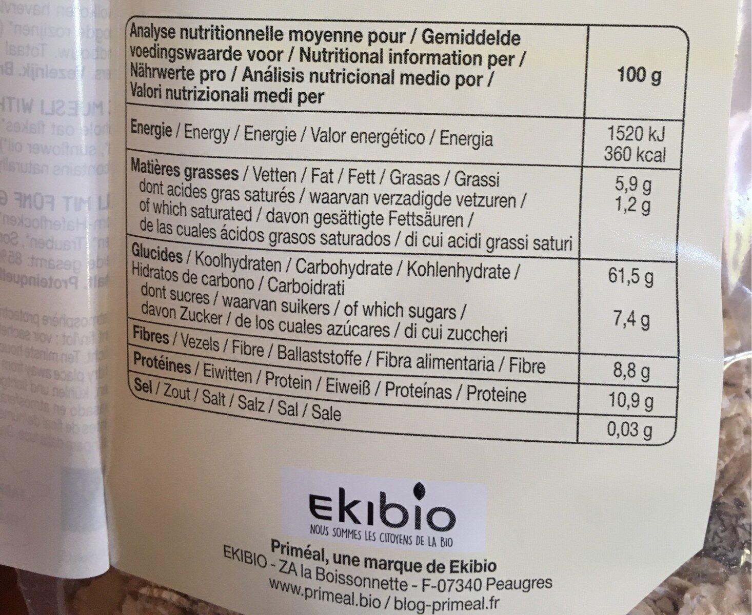 Muesli 5 céréales - Informations nutritionnelles - fr