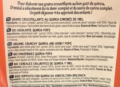 Picatos Quinoa - Informations nutritionnelles