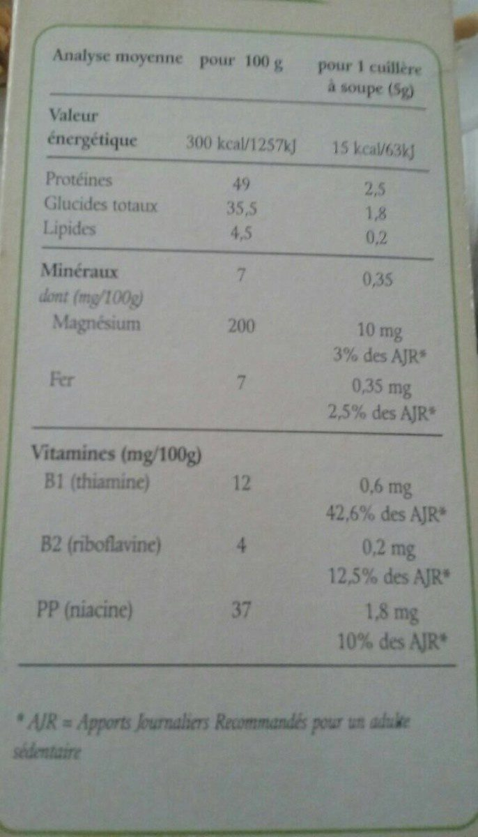 Levure de Bière - Valori nutrizionali - fr