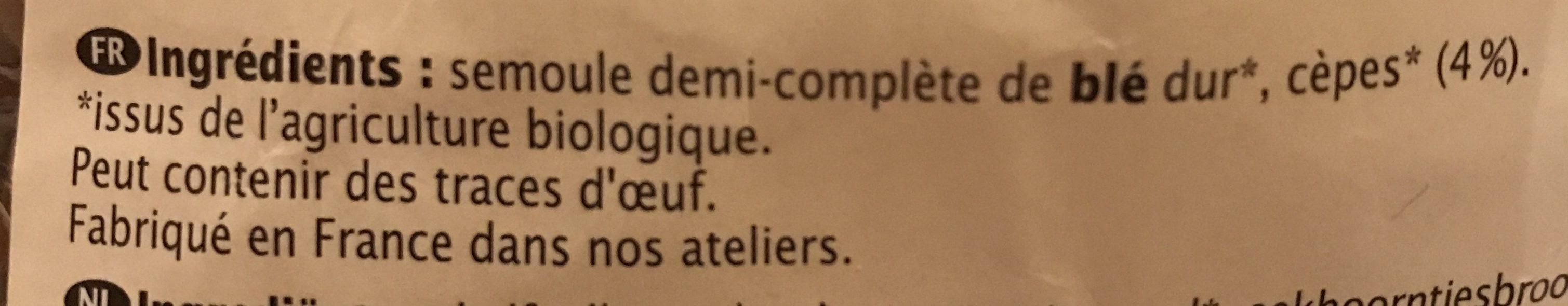 Tortils aux Cèpes - Ingredients