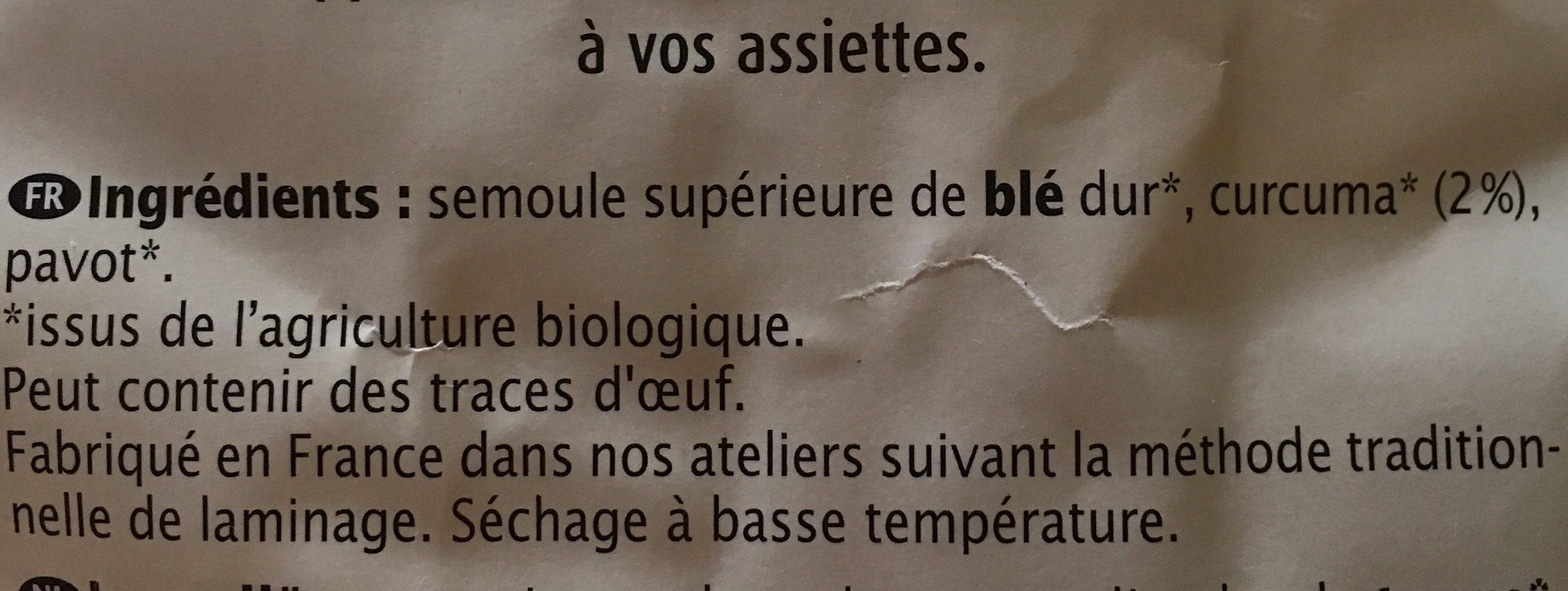 Tagliatelles au curcuma et au pavot - Ingrédients - fr