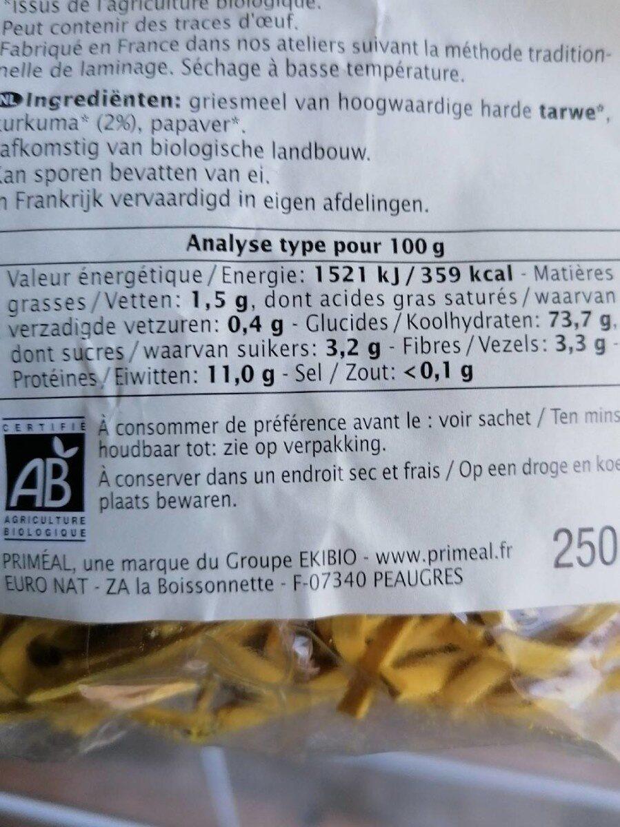 Tagliatelles au curcuma et au pavot - Informations nutritionnelles - fr