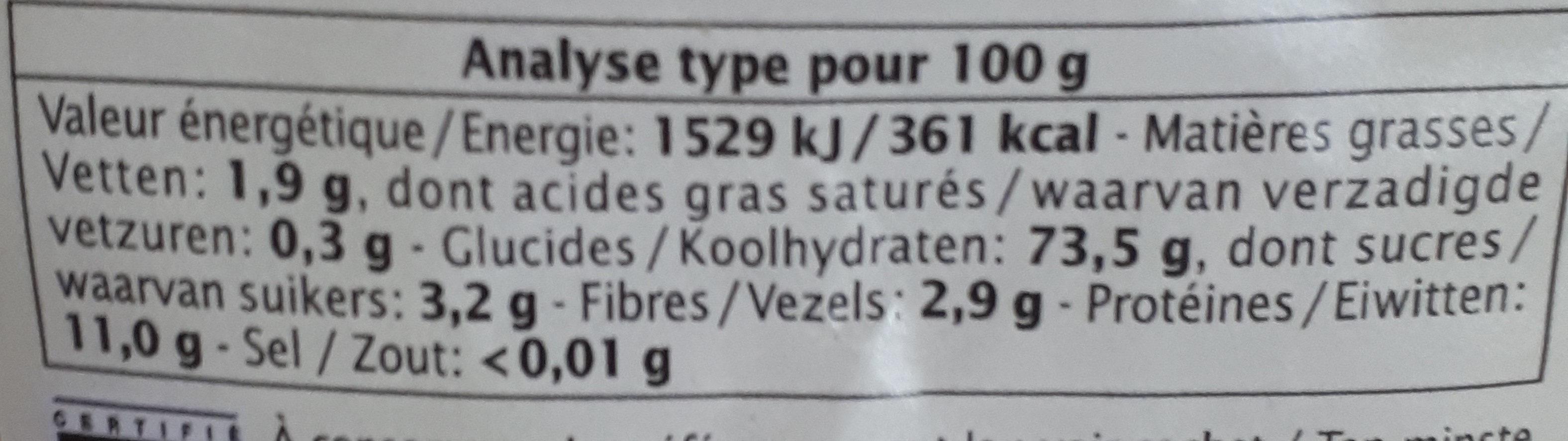 Tortils au citron et au safran - Informations nutritionnelles