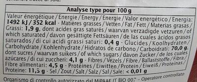 Codini blé & quinoa à la provençale - Informations nutritionnelles - fr