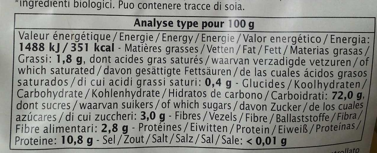 Spirales 3 couleurs blé & quinoa - Informations nutritionnelles - fr