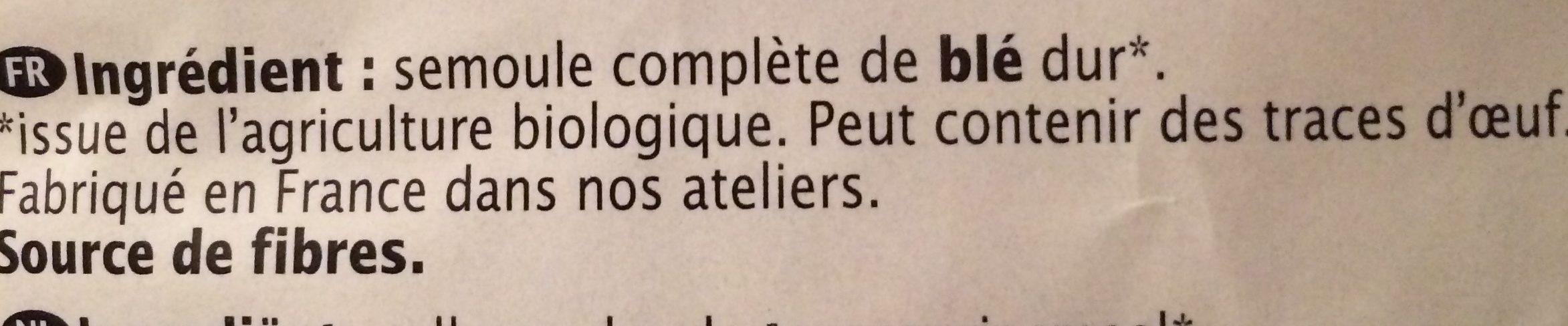 Coquillettes complètes bio - Ingrédients - fr