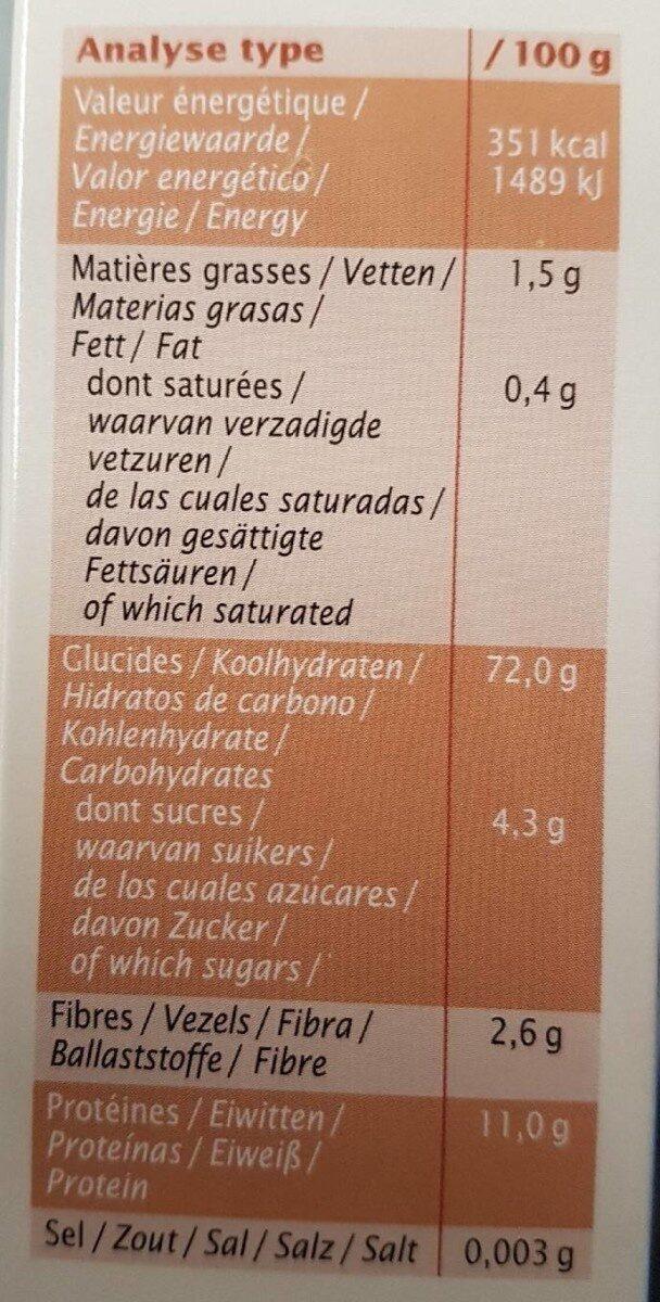 Lasagnes blanches - Informations nutritionnelles - fr