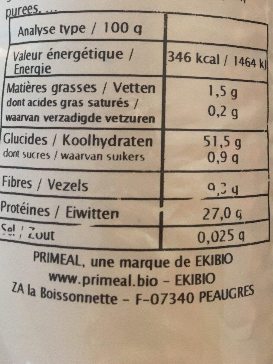 Lentilles Corail Bio - Informations nutritionnelles - fr