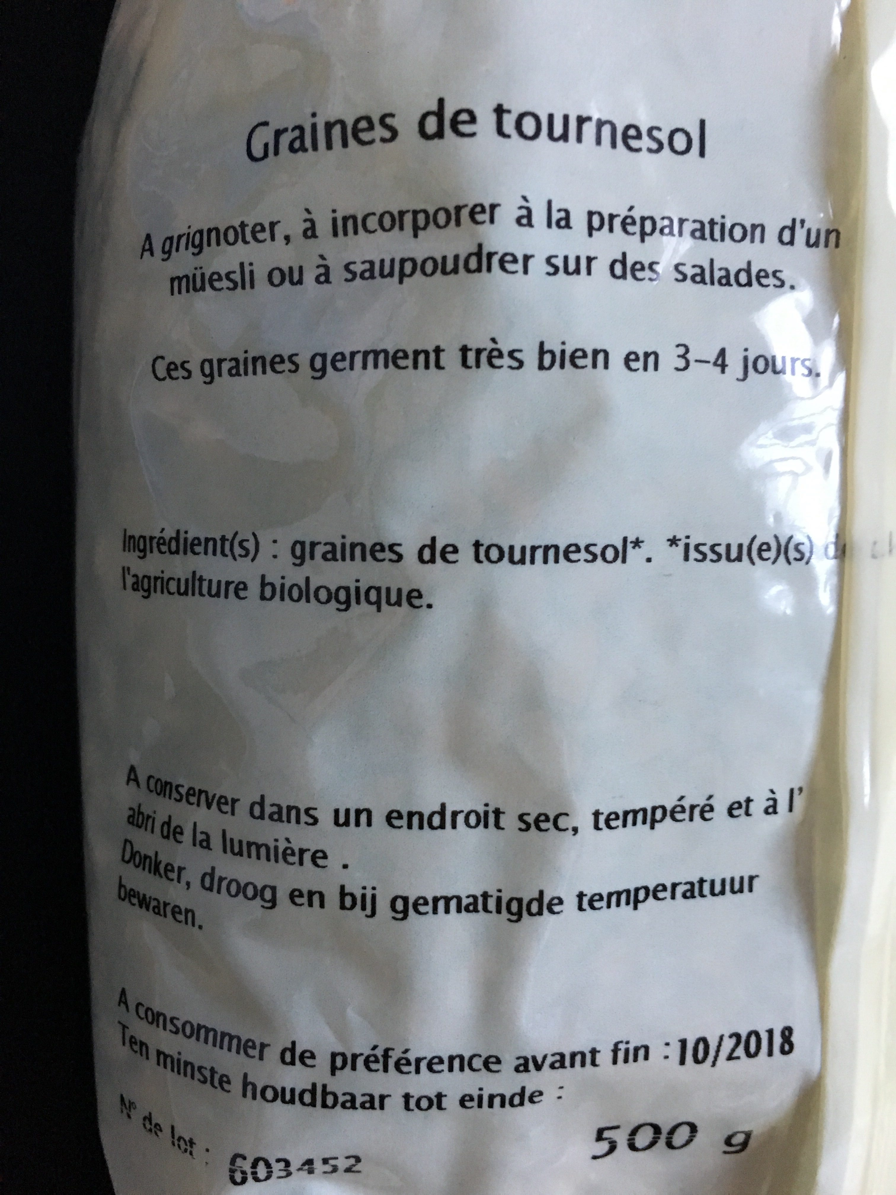 Graines de tournesol - Ingredients