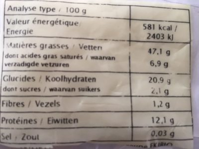 Graine de Sésame Complet - Nutrition facts - fr