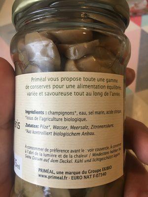 Champignons De Paris émincés En Conserve Bio - 315ML - Priméal - Ingrédients