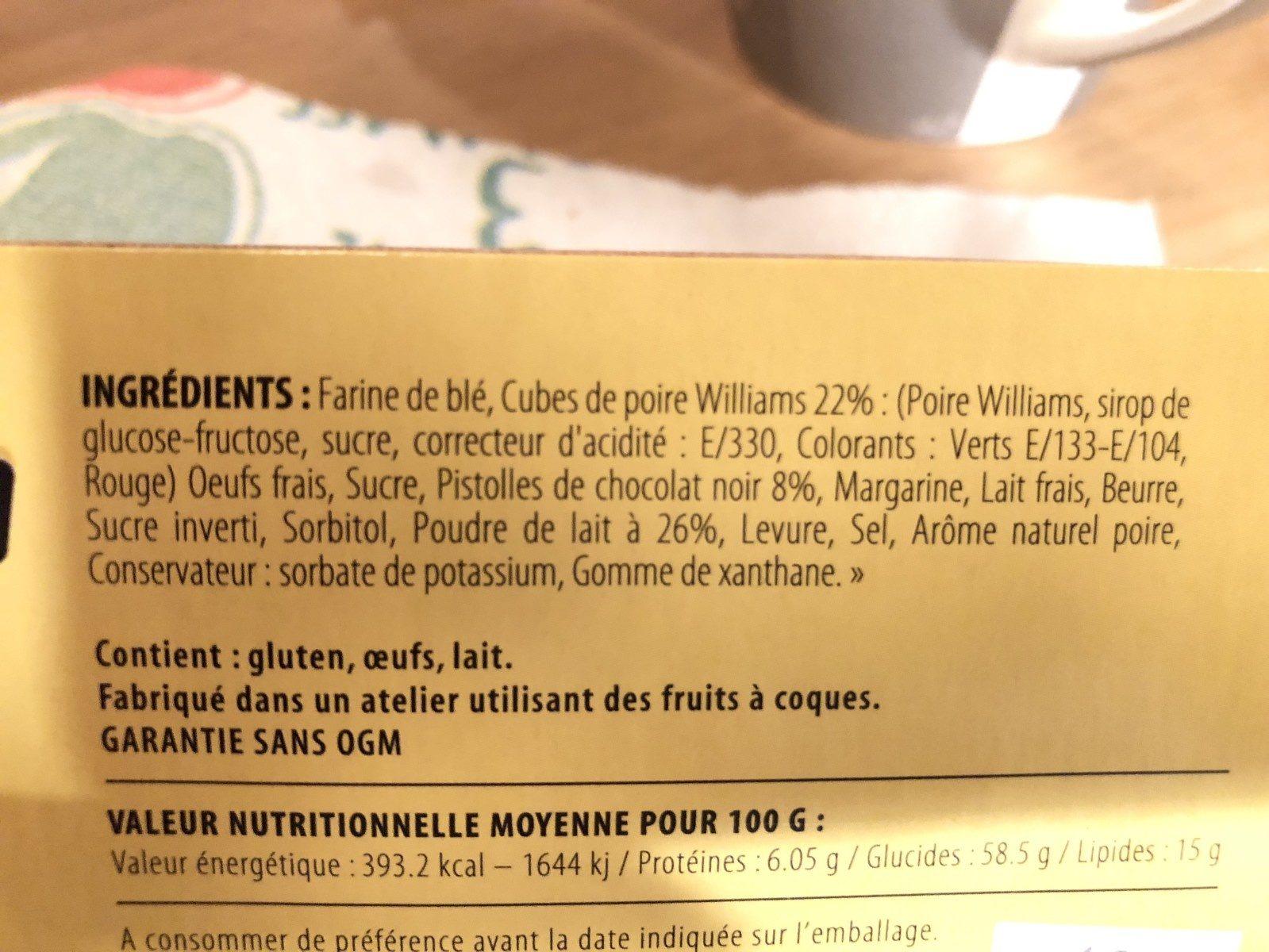 Cake poire chocolat - Ingrédients - fr
