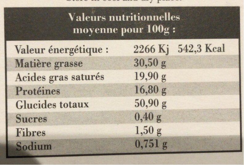 Sablés Des Plaines Au Parmigiano Reggiano - Informations nutritionnelles - fr